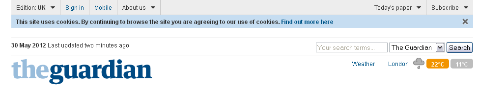 The guardian implied consent for cookies