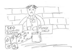Line drawing of a man begging