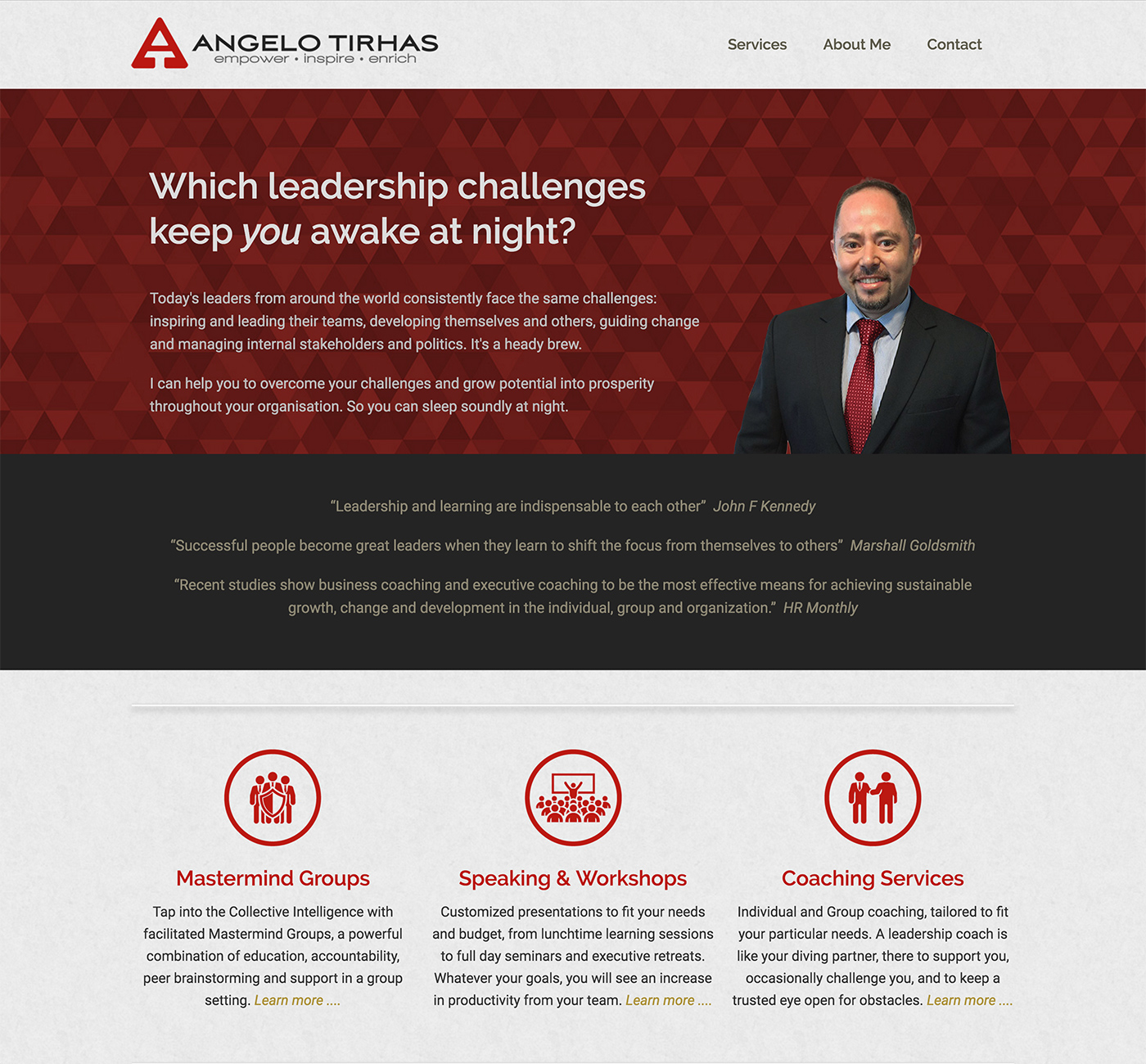 Angelo Tirhas website design