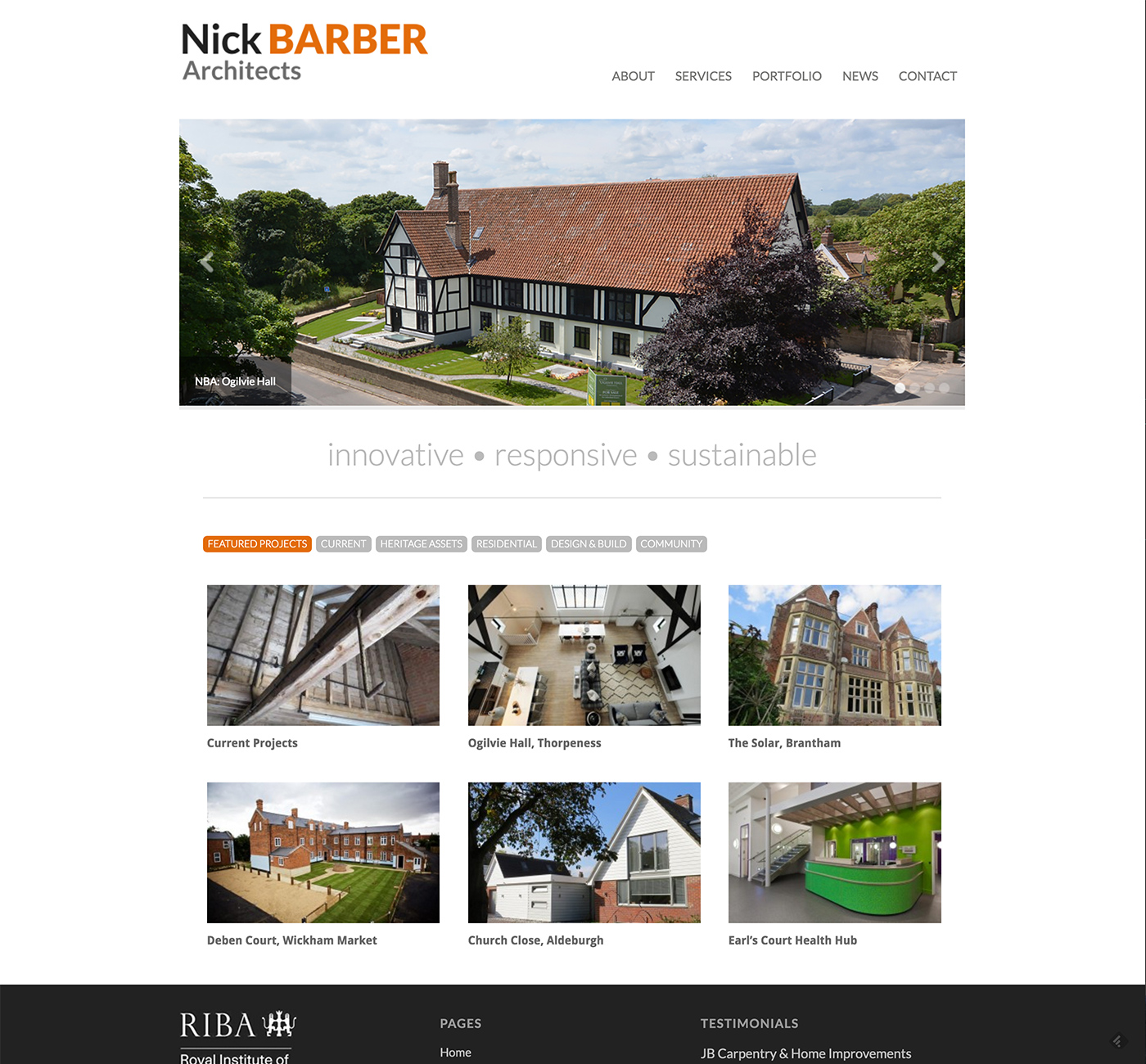 Nick Barber Architects website design