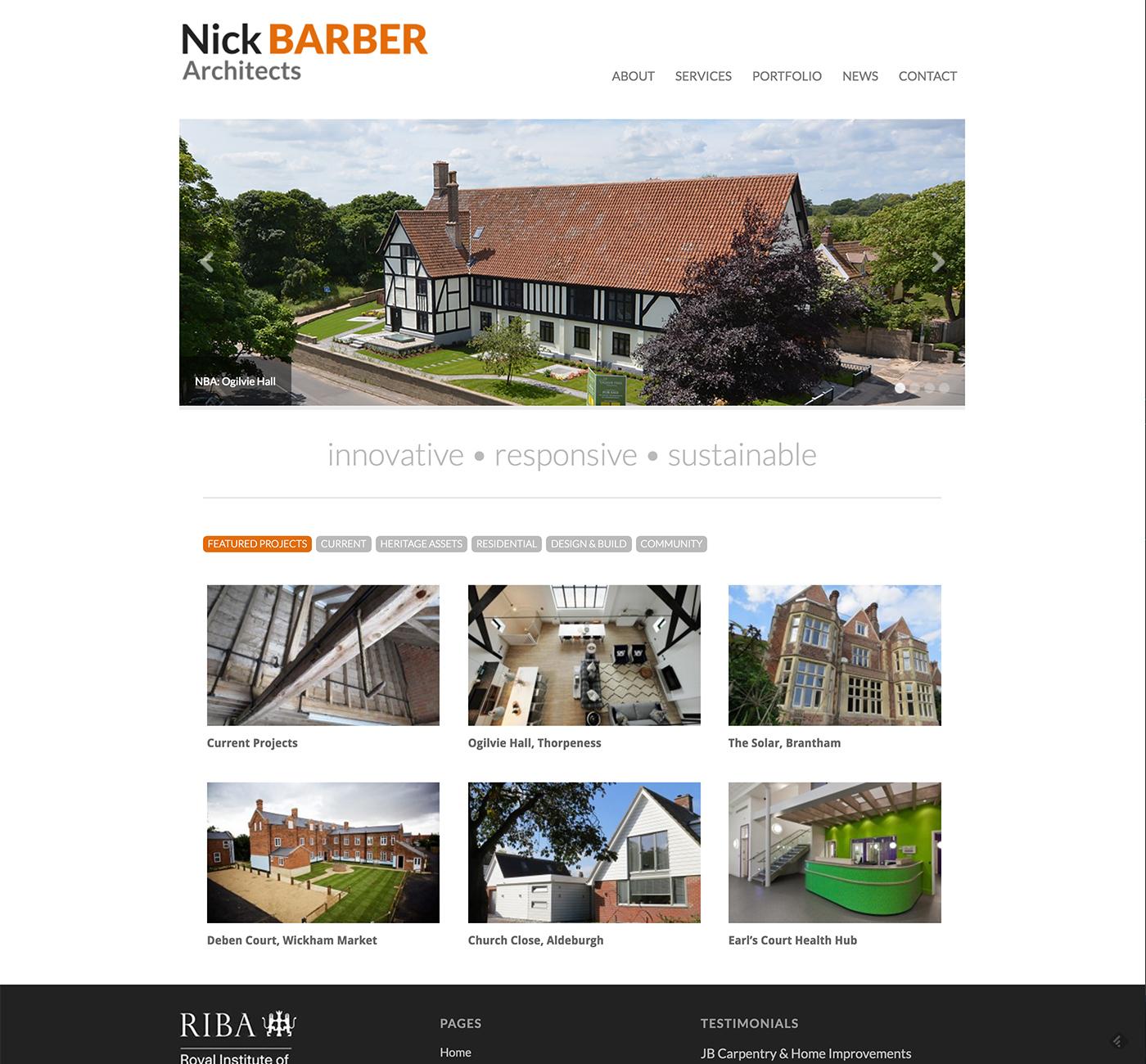 Nick Barber Architects website design